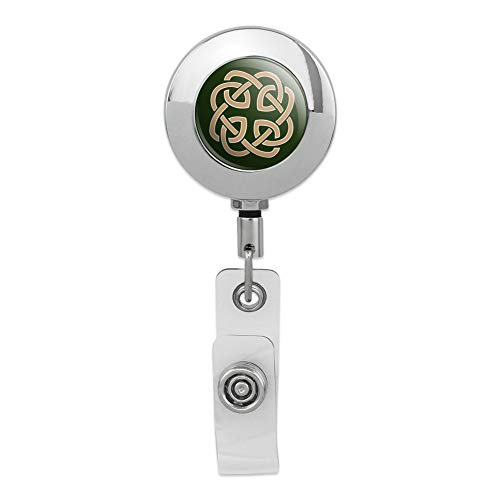 Celtic Knot Love Eternity Retractable Reel Premium Metal Chrome Badge ID Card Holder Clip (Irish Retractable Badge Holder)