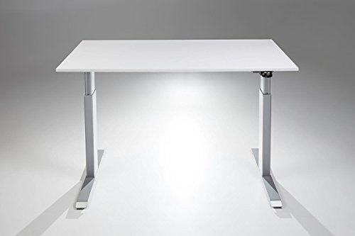 FlexTable Height Adjustable Sit Stand Desk w/ Silver Frame (Medium 24' x 48', White)
