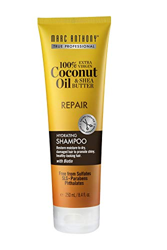 Marc Anthony 100% Extra Virgin Coconut Oil & Shea Butter Hydrating Shampoo, 8.4 Ounce Tube, Sulfate and Paraben Free, Hydrating Shampoo, Biotin Infused