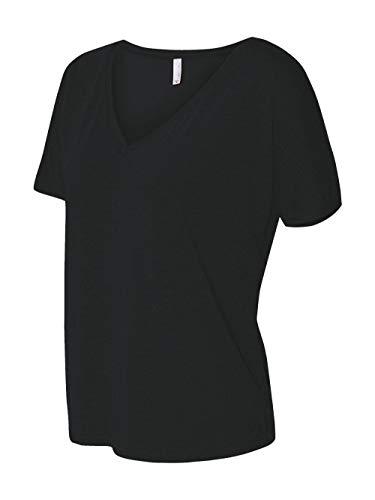 (Bella + Canvas Women's Slouchy V-Neck T-Shirt, Black, L)