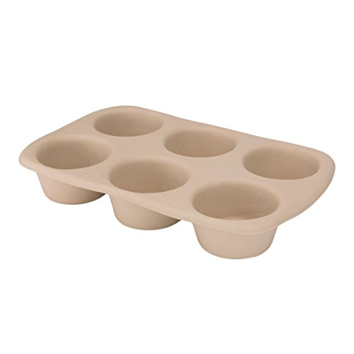 Stoneware Muffin Pan - American Bakeware 6 Cup Muffin Pan - Non Stick Ceramic Stoneware - Heat Resistant to 400 °F - No Metal, Lead, or other Harmful Materials - Safe for Ovens, Microwaves, Dishwasher, Made in the USA