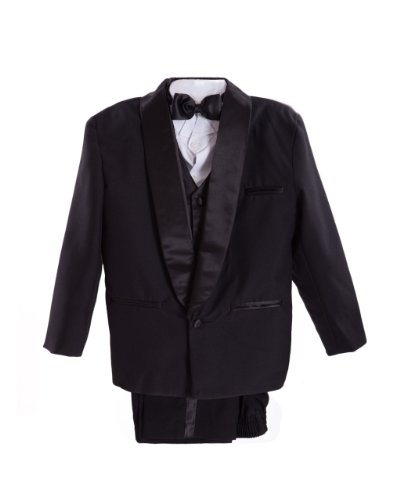 Black Little Boys Tuxedo suit Set, Jacket, Shirt, Vest & Pants, Bowtie