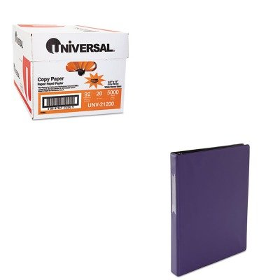KITUNV21200UNV31412 - Value Kit - Universal Suede Finish Vinyl Round Ring Binder With Label Holder (UNV31412) and Universal Copy Paper (UNV21200)