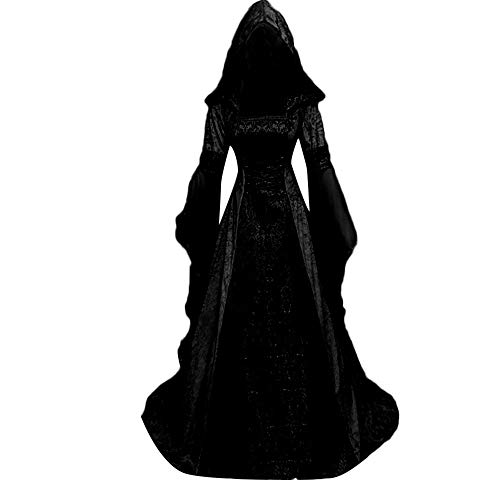 Halloween Women Medieval Dress Renaissance Lace Up Vintage Style Gothic Dress Floor Length Women Hooded Cosplay Dresses Retro (Black, L) -
