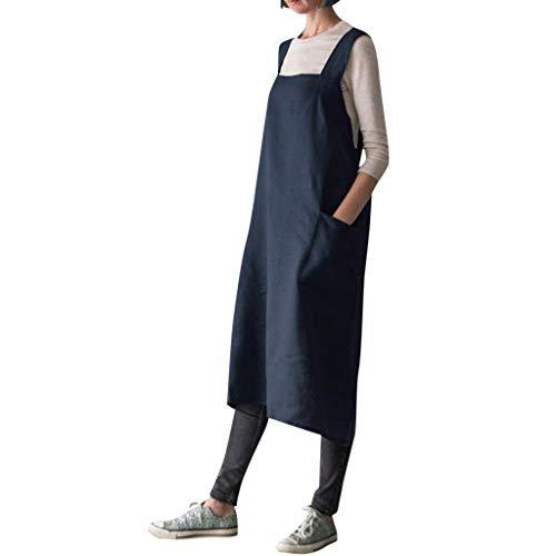 Ladies Pinafore Dress Pgojuni Cotton Linen Square Cross Apron Garden Work Vintage Dress ()