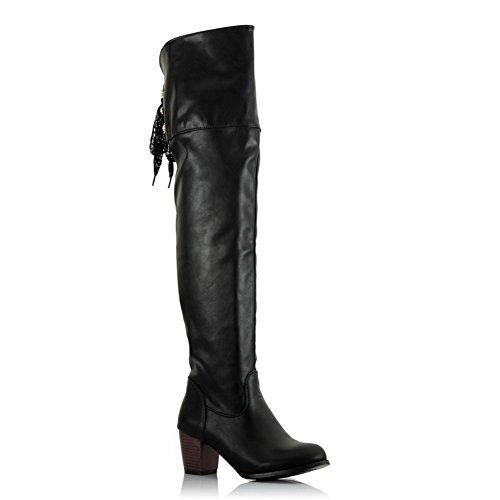 BalaMasa Womens Kitten Heels Above The Knee Solid PU Fashion Boots Black PnWWl5TWU