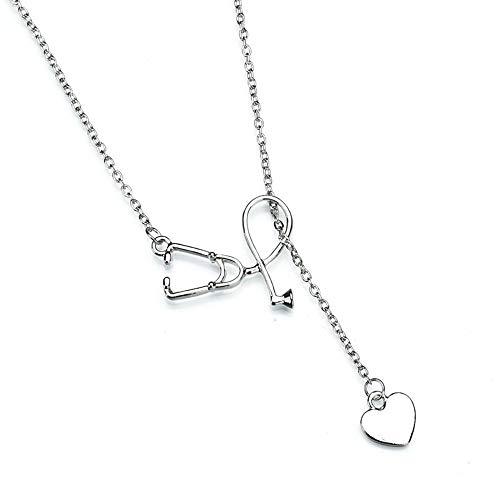 Women Heart Pendant Choker Necklace Gold Silver Long Chain Jewelry ()