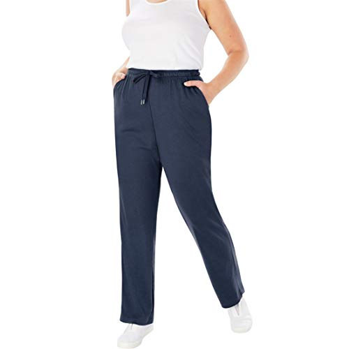 Woman Within Plus Size Tall Sport Knit Straight Leg Pant - Navy, 5X