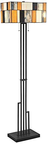 Lite Source Concertina Black Tiffany Style Floor ()