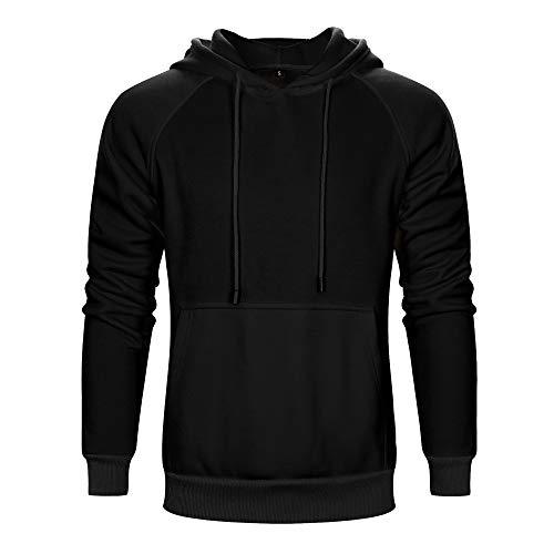 TOLOER Men's Hoodies Pullover Slim Fit Solid Color Sports Outwear Sweatshirts Black X-Large (Best Slim Fit Hoodies)
