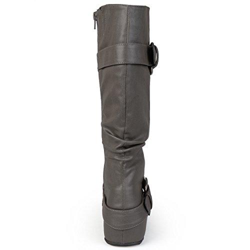 Journee Collectie Dames Extra Breed Kalf Slouch Gesp Knie Hoge Laarzen Grijs Patent