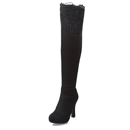 Hoch Stiefel wasserdicht Rund Blend Absatz Damen Hoher AllhqFashion Spitze Plattform Materialien Schwarz Zehe 06qzw