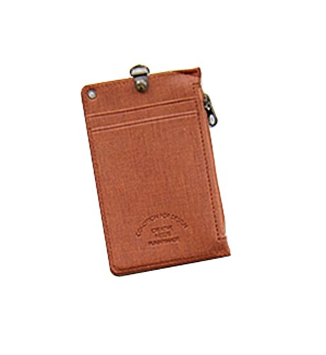 ID Card Badge Holder Unisex Zipper Pocket Credit Card Case Purse Wallet with Lanyard Neck Strap