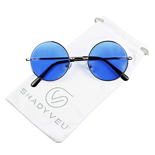 ShadyVEU - Retro Colorful Tint Lennon Style Round Groovy Hippie Wire Sunglasses (Solid Blue Lens, -