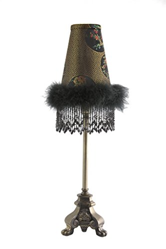 vintage-table-lamp-with-metal-three-footed-base-and-floral-fabric-shade-with-feathers-and-black-bead