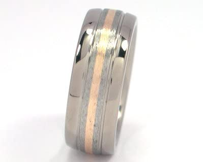 Mens Rings Bands Titanium Wedding Ring With 14k Yellow Gold Inlay