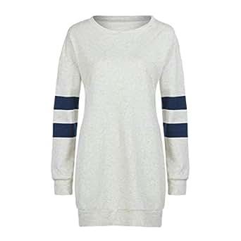 MEIbax Mujeres mšs el Tama?o Elegante Mujeres O Cuello Rayado Manga Larga Camiseta Blusa Sudadera Camiseta con Capucha Jersey Tops Blusa Sudadera: ...