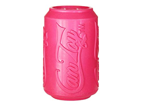 SodaPup - Natural Rubber Soda Can Dog Chew Toy - Made in USA - Treat Dispenser - Slow Feeder - Puppy Compound for Teething Puppies - Pink - Medium