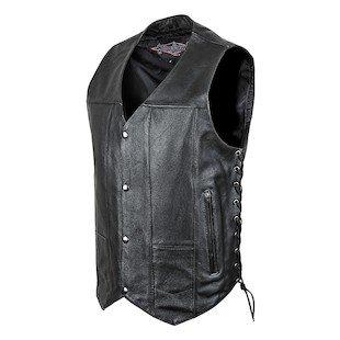 STREET & STEEL 2nd Amendment Leather Motorcycle Vest - MD, Black