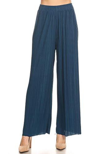 (Women's Flowy Wide Leg Pleated Palazzo Dress Pants Jean Blue)