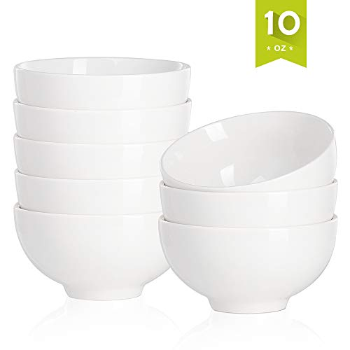 Malacasa Porcelain Bowls 10 Ounce for Cereal, Soup, Salad and Desserts, Deep Rice Bowl Set Dishes, 8 Packs, Ivory White