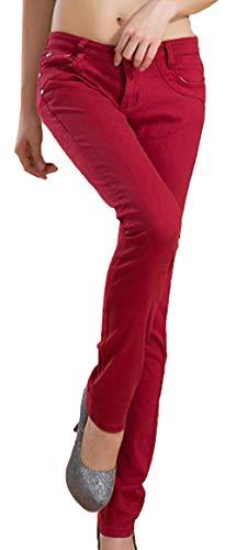 Corti Slim Autunno Pantaloni Donna Casual Lunghi Leggings Skinny Trend Borgogna Matita Stile Snone Elasticità Jeans Sottili A xH8qpq