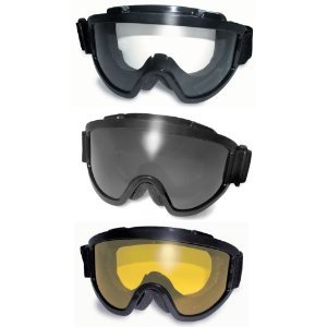 Three 3 Pairs Windshield Padded Goggles Clear, Smoke, and Yellow Lenses Fits Over Most Glasses 2mm Thick Pc Lens Anti-fog Coating Great for Paintball Airsoft ATV Motorcycle the Padding Keeps Sweat Out of Your Eyes Meets ANSI Z87.1 Standards for Safety Eyewear