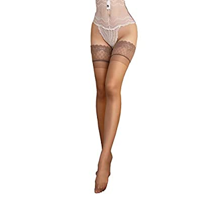 Women Thigh High Lace Top Stockings Glossy Sheer Lace Silicone Hold Up Over the (Brown, 1 Pair) at Women's Clothing store