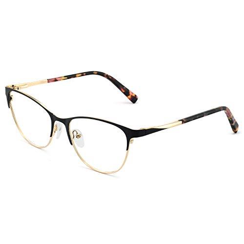 OCCI CHIARI Fashion Vintage Oval Non-Prescription Eyewear Frame Designer For Women Frame(Black/Gold)