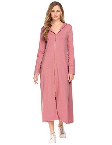 Qearal Women Long Robes Plus Size Hoodie Bathrobe Zipper Maxi Hoodie Dress With Pockets (XXXL, Rose - Rose Zipper