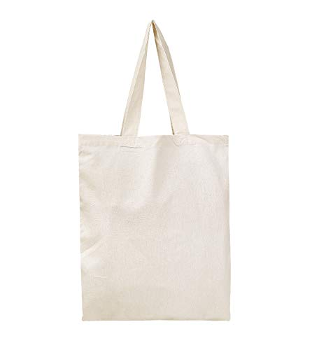 BagzDepot 12 Pack Durable Cotton Canvas Reusable Blank 15inch x 16inch Standard Size Grocery Plain Tote Bags with 21 inches Supportive Fabric Handles No Bottom Gusset - Natural