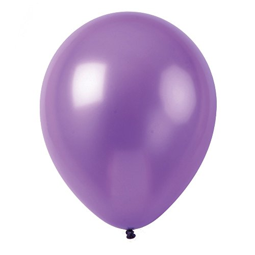 Topenca Party Supplies, 12 Inches Solid Metallic Latex Balloons, 50 Pack, Purple