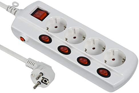 Electraline 62501 Power Extension 4 Fach Steckdosenleiste 4 Schalter Allgemeinschalter Abschnitt 3 G1 Mm 1 5 M Kabel Weiß Baumarkt