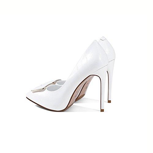 Wysm Chaussures 11cm Talons Hauts Femme Boucle Boucle Stiletto Pompes Blanc uiy7L