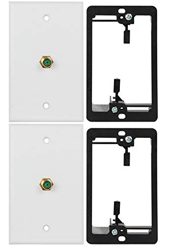 Wi4You 3GHz Coax Wall Plate White, 1 Gang Mounting Bracket, Brass F Connector for TV Satellite Data Wiring Connection (3G Coax, 2pack)