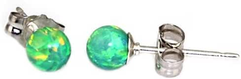 Margarita: 4mm Kiwi Green Created Opal Ball Stud Post Earrings, Solid 925 Sterling Silver