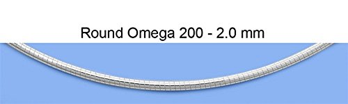 (Sterling Silver 2MM Round Omega Necklace 20