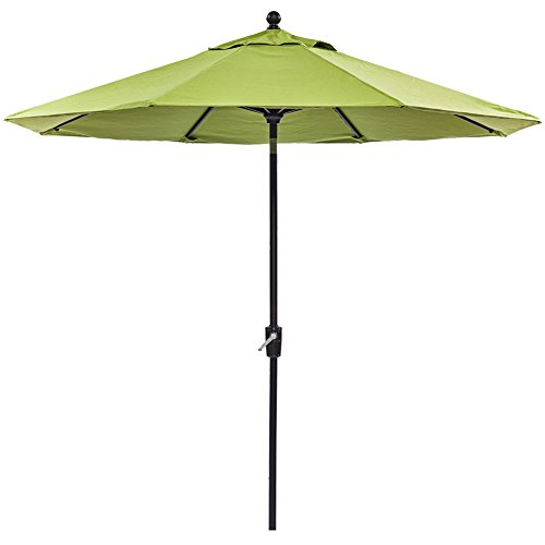dali Patio Umbrella, 9 Ft Aluminum Patio Market Outdoor Table Umbrella Auto Tilt Crank, Green