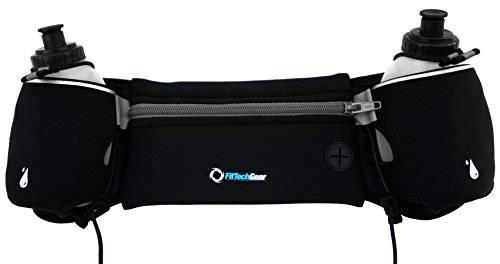 4 Hydration Belt (Hydration Belts for Runners | Limited Time Low Price | 2 BPA Free 10oz Water Bottles | Free Jump Rope | Free Reflective Band | No Bounce When You Run | Great for Ladies | Runner Tested (Black/Blue))