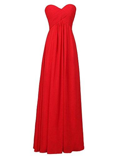 Vestidos Vestido JAEDEN Dama de Rojo Plisada Baile de Honor Gasa Tirantes de de Sin Noche Larga de qtwtr8p