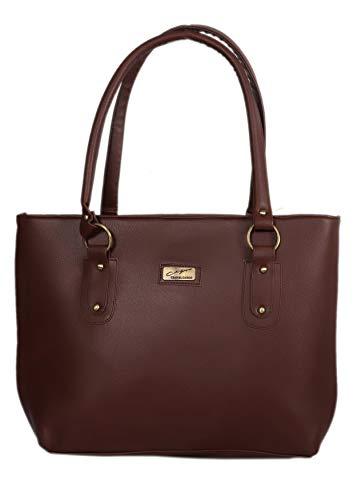 DN DEALS Women's PU Handbag Bag(Dark Brown)
