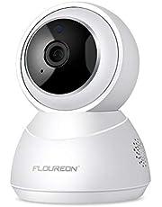 FLOUREON Telecamera di Sorveglianza Senza Fili IP Camera - HD Wireless Videocamera P2P H.264 Visione Notturna, Rilevamento del Movimento, Supporta Micro SD (YI Bianco)