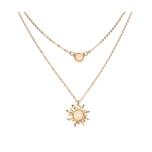 (Aineecy Double Layer Sunshine Sunflower Pendant Necklace Charm Geometric Full Moon Circle Round Faux Opal Choker Necklace Clavicle Chain for Women Girls (Gold))