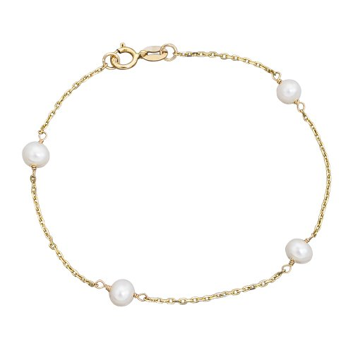 14k Gold Cultured Pearl Station Girls Bracelet 6