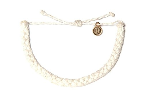 Pura Vida White Braided Bracelet 100% Waterproof, Wax-Coated With Gold-Coated Copper (Braided Bracelets)