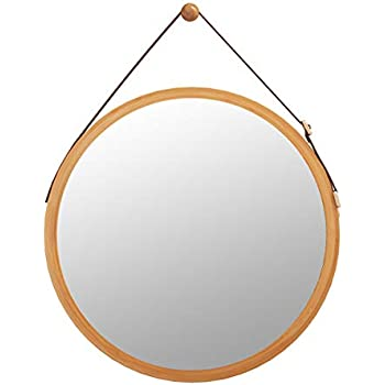 Bathroom Mirror Wall Mount - 18 inch Bamboo Frame Hanging Strap Round Bedroom Dressing Mirror Hook Offered Natural Rustic(Bamboo, 17.72''x17.72''x0.59'')
