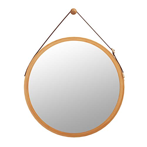 Domax Bathroom Mirror Wall Mount - 18 inch Bamboo Frame Hanging Strap Round Bedroom Dressing Mirror Hook Offered Natural Rustic(Bamboo, 17.72''x17.72''x0.59'') (Mirror Wall Bamboo)