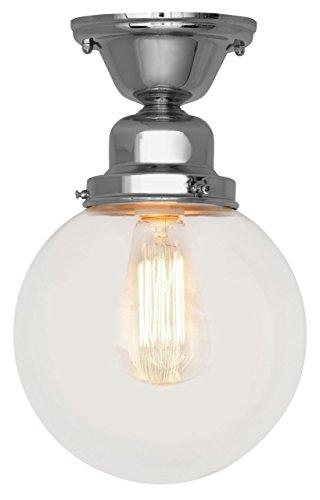 Reproduction Historic Filament Bulb Ceiling Light Fixture Chrome Marconi Bulb