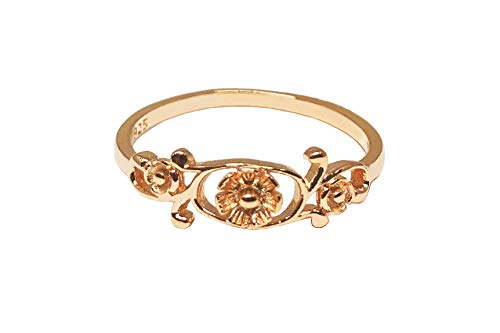 CloseoutWarehouse Rose Gold-Tone Plated Sterling Silver Antique Filigree Flower Ring Size 10 ()