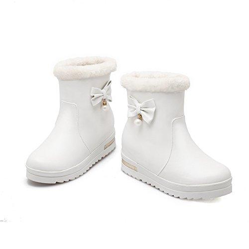 BalaMasa Ladies Spun Gold Bowknot Platform Round Toe Imitated Leather Boots White zcfcVraEIm